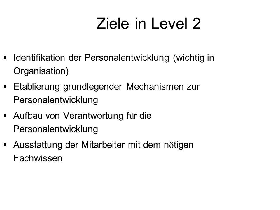 Ziele in Level 2 Identifikation der Personalentwicklung (wichtig in Organisation) Etablierung grundlegender Mechanismen zur Personalentwicklung Aufbau