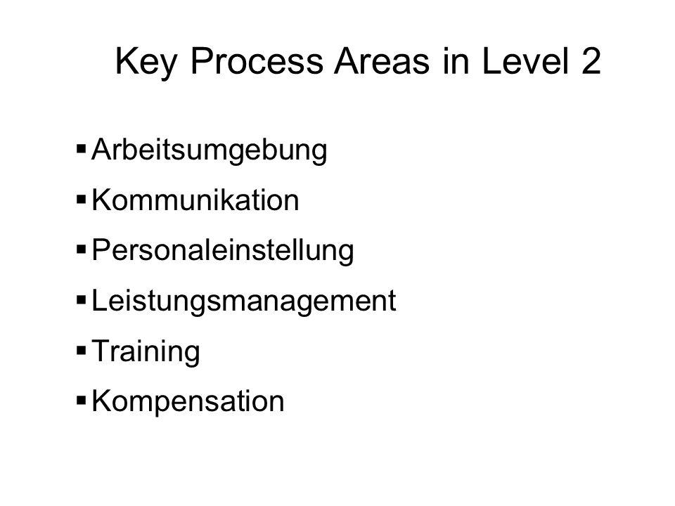 Key Process Areas in Level 2 Arbeitsumgebung Kommunikation Personaleinstellung Leistungsmanagement Training Kompensation