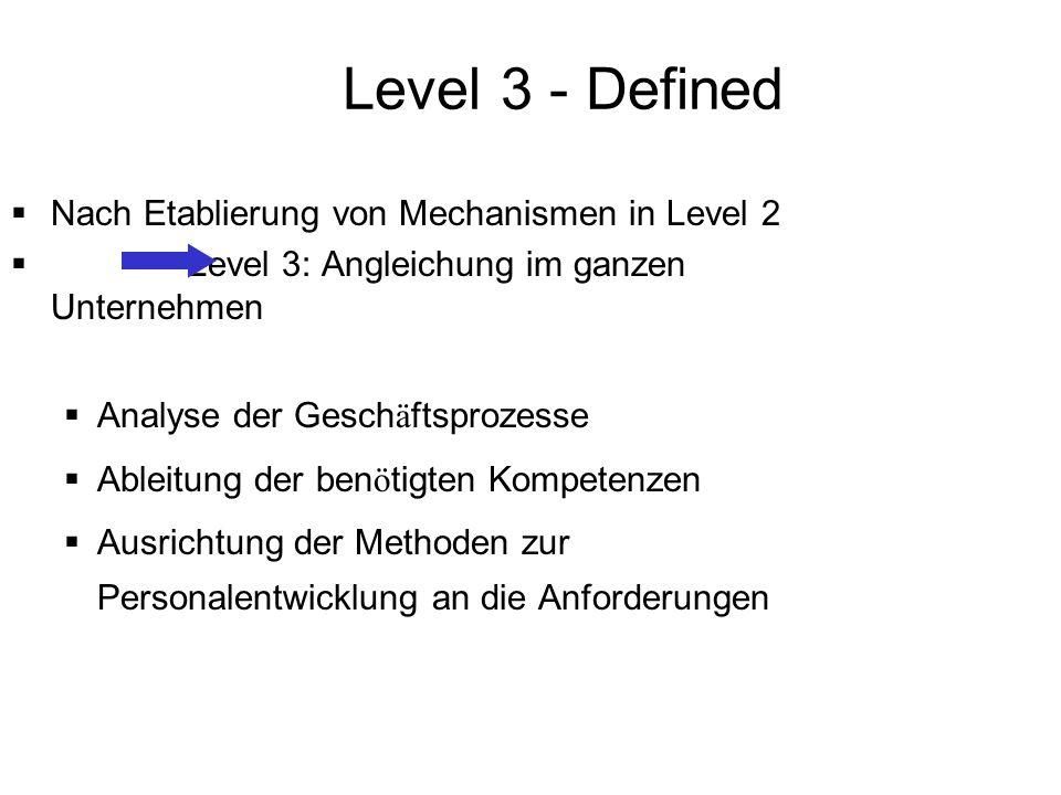 Level 3 - Defined Nach Etablierung von Mechanismen in Level 2 Level 3: Angleichung im ganzen Unternehmen Analyse der Gesch ä ftsprozesse Ableitung der