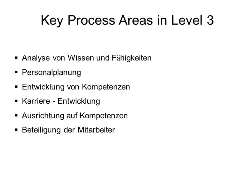 Key Process Areas in Level 3 Analyse von Wissen und F ä higkeiten Personalplanung Entwicklung von Kompetenzen Karriere - Entwicklung Ausrichtung auf K