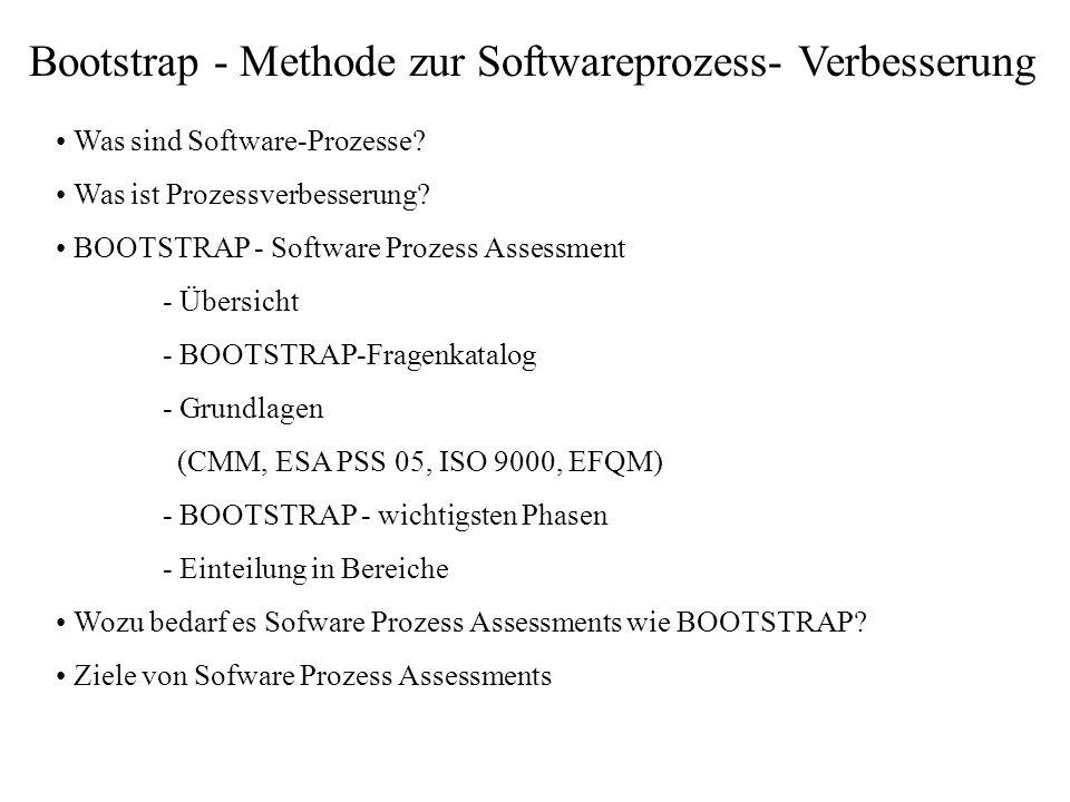 Bootstrap - Methode zur Softwareprozess- Verbesserung Was sind Software-Prozesse? Was ist Prozessverbesserung? BOOTSTRAP - Software Prozess Assessment