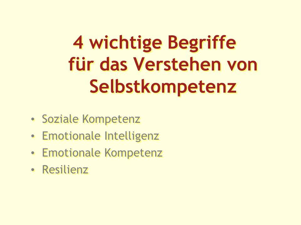 4 wichtige Begriffe für das Verstehen von Selbstkompetenz Soziale Kompetenz Emotionale Intelligenz Emotionale Kompetenz Resilienz Soziale Kompetenz Emotionale Intelligenz Emotionale Kompetenz Resilienz