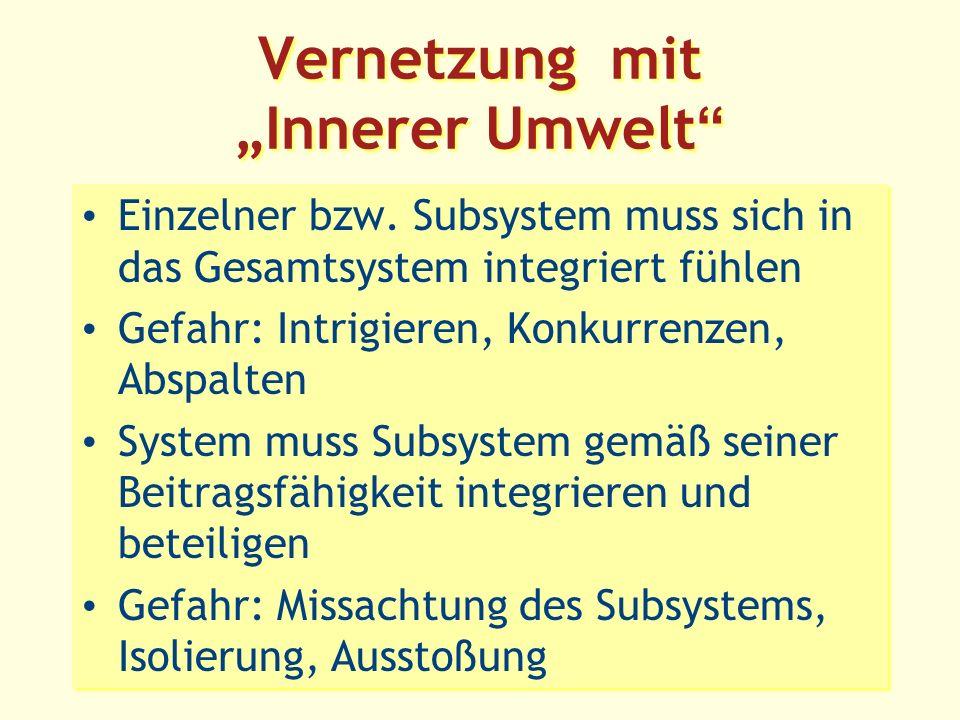 Vernetzung mit Innerer Umwelt Einzelner bzw.
