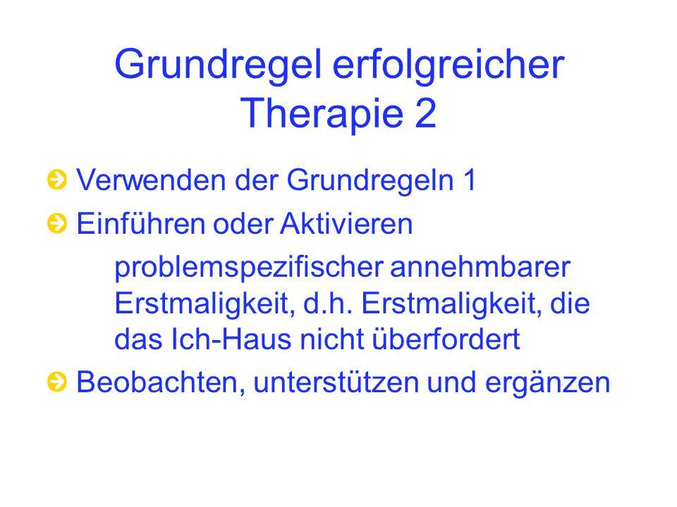 Grundregel erfolgreicher Therapie 2 Verwenden der Grundregeln 1 Einführen oder Aktivieren problemspezifischer annehmbarer Erstmaligkeit, d.h.