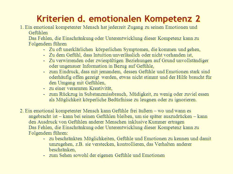 Kriterien d.emotionalen Kompetenz 2 1.