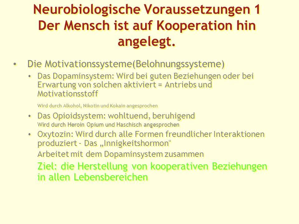 Neurobiologische Voraussetzungen 1 Der Mensch ist auf Kooperation hin angelegt.