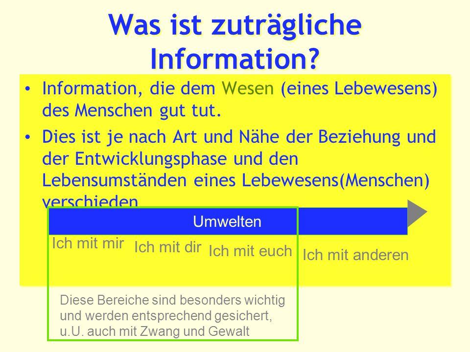 Was ist zuträgliche Information.