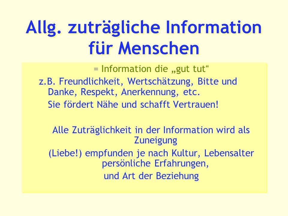 Allg.zuträgliche Information für Menschen = Information die gut tut z.B.