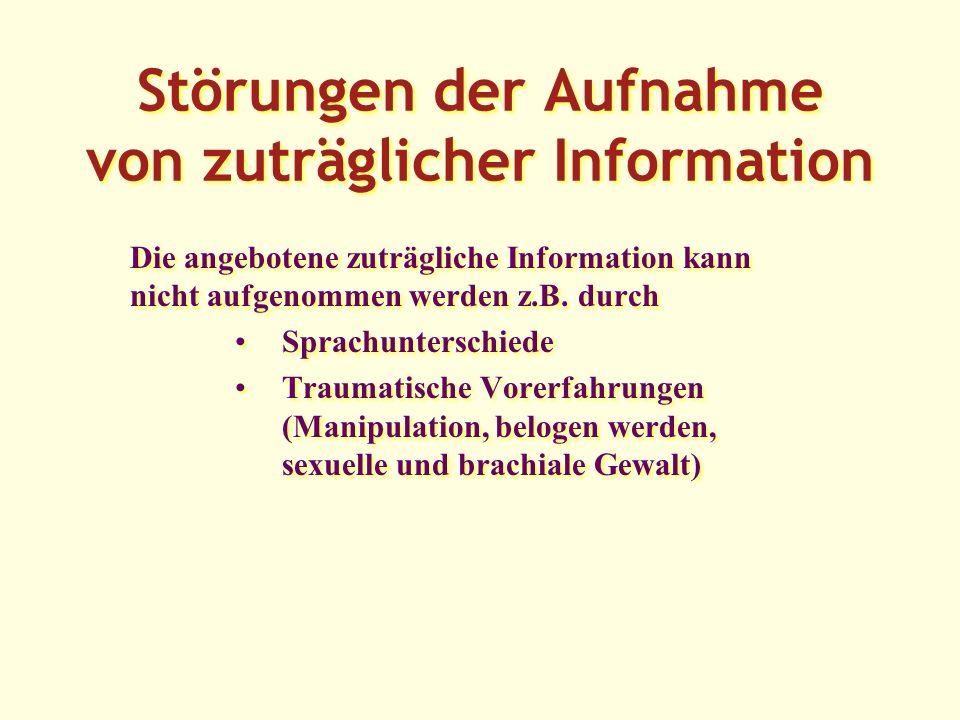 Störungen der Aufnahme von zuträglicher Information Die angebotene zuträgliche Information kann nicht aufgenommen werden z.B.