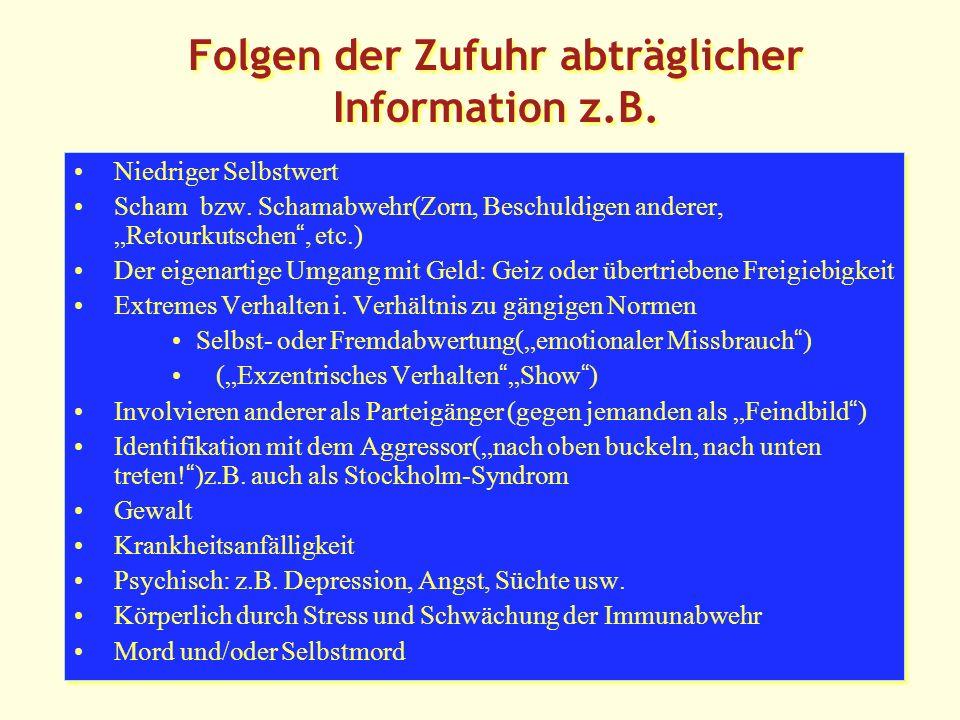 Folgen der Zufuhr abträglicher Information z.B.Niedriger Selbstwert Scham bzw.