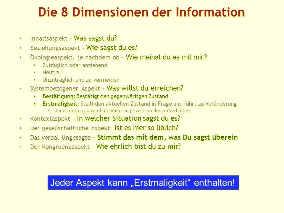 Die 8 Dimensionen der Information Inhaltsaspekt - Was sagst du.