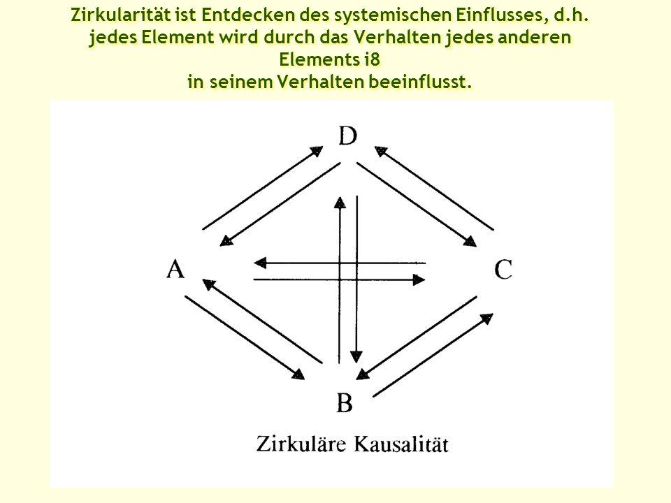 Zirkularität ist Entdecken des systemischen Einflusses, d.h.