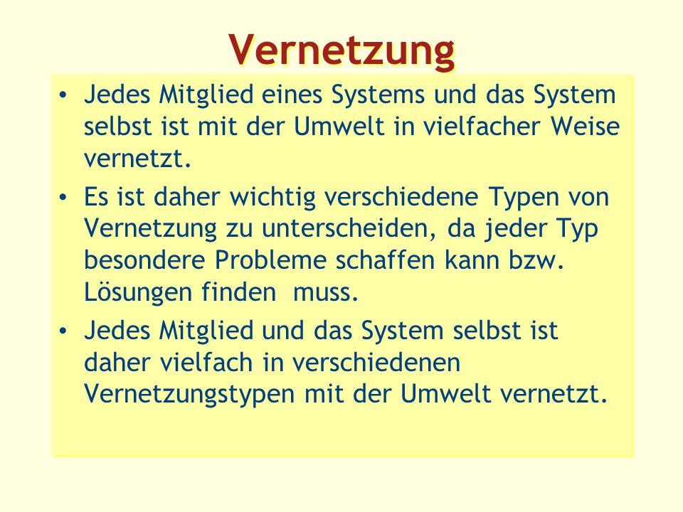 Vernetzung Jedes Mitglied eines Systems und das System selbst ist mit der Umwelt in vielfacher Weise vernetzt.