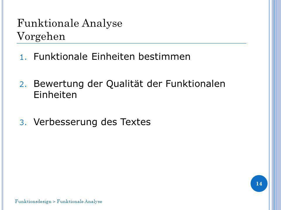Funktionale Analyse Vorgehen 1.Funktionale Einheiten bestimmen 2.