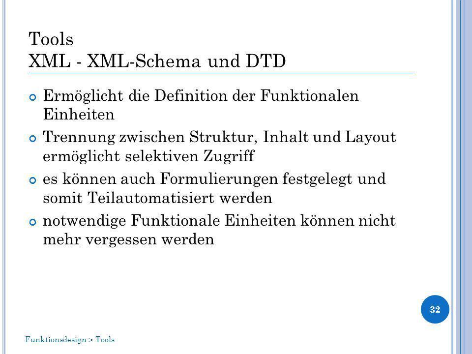 Tools XML - XML-Schema und DTD Ermöglicht die Definition der Funktionalen Einheiten Trennung zwischen Struktur, Inhalt und Layout ermöglicht selektiven Zugriff es können auch Formulierungen festgelegt und somit Teilautomatisiert werden notwendige Funktionale Einheiten können nicht mehr vergessen werden 32 Funktionsdesign > Tools