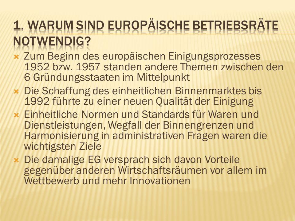 Mit Treffen von Gewerkschaftsvertretern in Unternehmen hatten die Gewerkschaften national und europäisch auf den Binnenmarkt reagiert Viele dieser Treffen spielten informell eine wichtige Rolle beim Zustandekommen von EBRs Dies war eine wichtige Voraussetzung für die ersten EBR-Vereinbarungen vor 1996 oder gar 1994 Die Zahl solcher Initiativen war begrenzt
