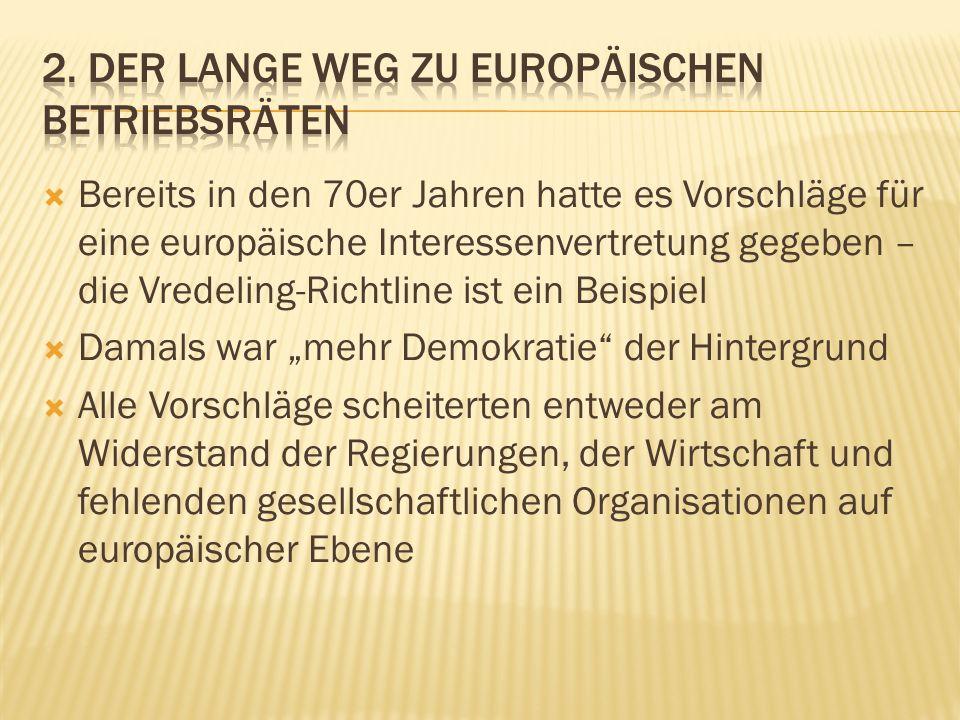 Bereits in den 70er Jahren hatte es Vorschläge für eine europäische Interessenvertretung gegeben – die Vredeling-Richtline ist ein Beispiel Damals war mehr Demokratie der Hintergrund Alle Vorschläge scheiterten entweder am Widerstand der Regierungen, der Wirtschaft und fehlenden gesellschaftlichen Organisationen auf europäischer Ebene