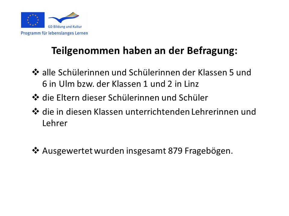 Teilgenommen haben an der Befragung: alle Schülerinnen und Schülerinnen der Klassen 5 und 6 in Ulm bzw. der Klassen 1 und 2 in Linz die Eltern dieser