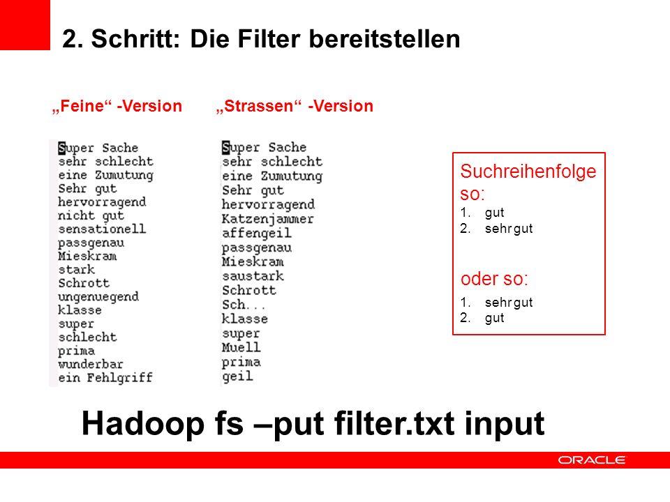 2. Schritt: Die Filter bereitstellen Feine -VersionStrassen -Version Suchreihenfolge so: 1.gut 2.sehr gut 1.sehr gut 2.gut oder so: Hadoop fs –put fil