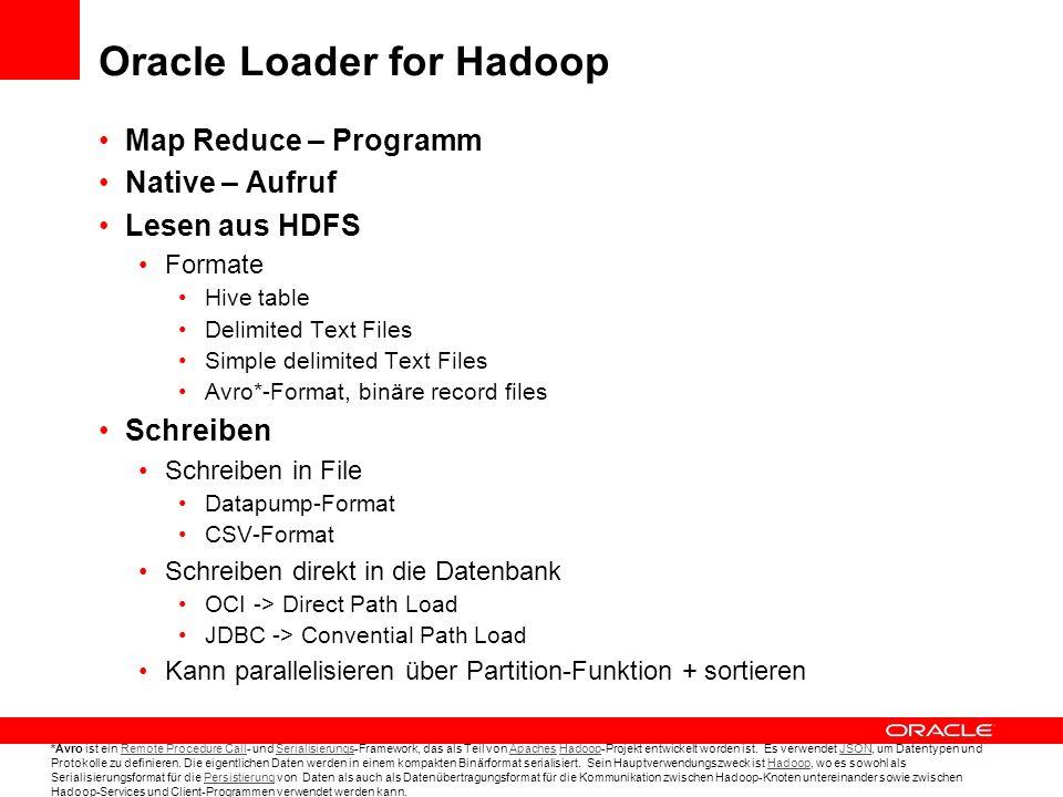 Oracle Direct Connector for Hadoop Distributed File System (HDFS) Erweiterungsfunktion zu external Tables Hdfs_stream – Routine als Preprocessor-Funktionalität Liest direkt aus HDFS Aufruf aus der Datenbank heraus Z.