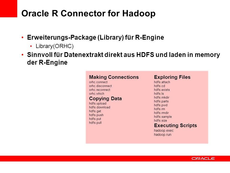 Oracle R Connector for Hadoop Erweiterungs-Package (Library) für R-Engine Library(ORHC) Sinnvoll für Datenextrakt direkt aus HDFS und laden in memory