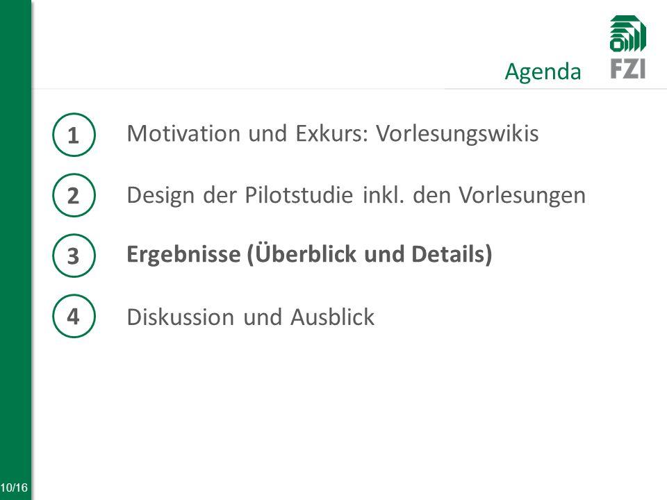10/16 Motivation und Exkurs: Vorlesungswikis Agenda 1 2 Design der Pilotstudie inkl.