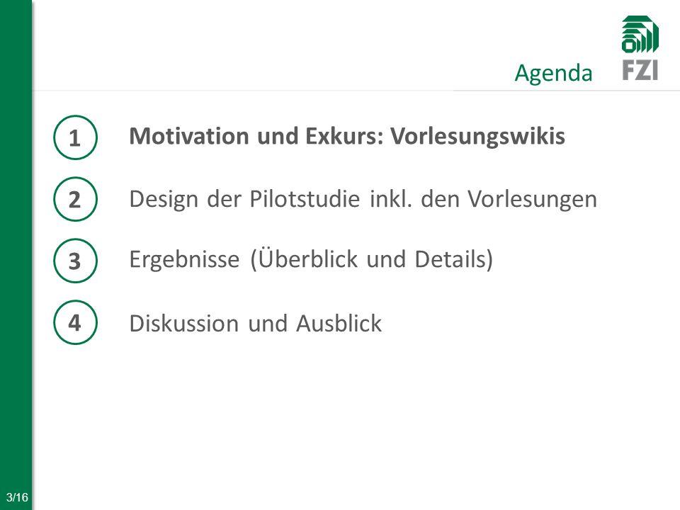 3/16 Motivation und Exkurs: Vorlesungswikis Agenda 1 2 Design der Pilotstudie inkl.