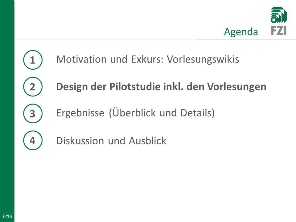 6/16 Motivation und Exkurs: Vorlesungswikis Agenda 1 2 Design der Pilotstudie inkl.