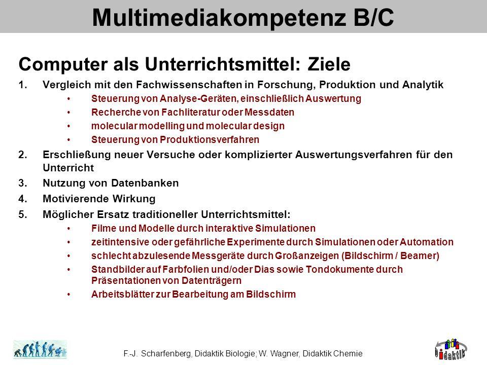 Multimediakompetenz B/C Computer als Unterrichtsmittel: Ziele 1.Vergleich mit den Fachwissenschaften in Forschung, Produktion und Analytik Steuerung v