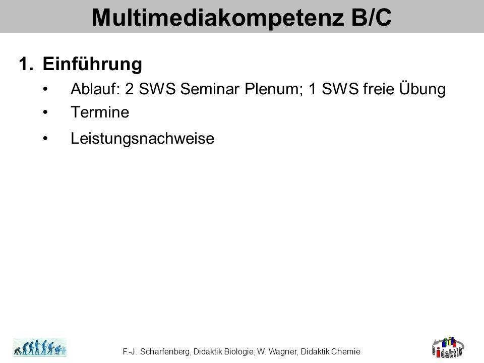 Multimediakompetenz B/C 1.Einführung Ablauf: 2 SWS Seminar Plenum; 1 SWS freie Übung Termine Leistungsnachweise F.-J. Scharfenberg, Didaktik Biologie;