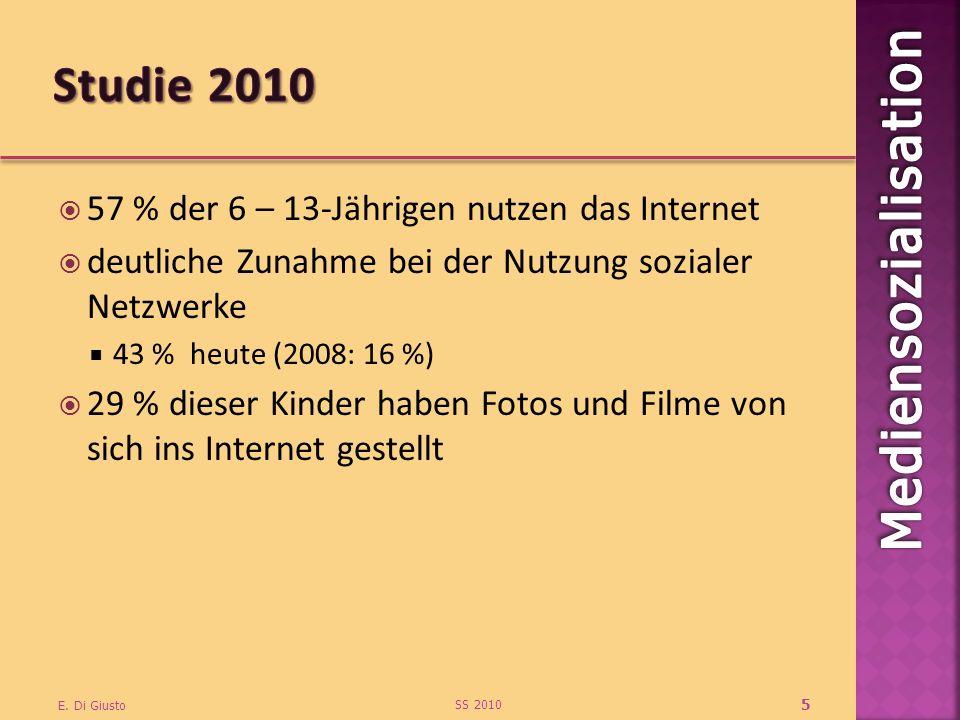 57 % der 6 – 13-Jährigen nutzen das Internet deutliche Zunahme bei der Nutzung sozialer Netzwerke 43 % heute (2008: 16 %) 29 % dieser Kinder haben Fotos und Filme von sich ins Internet gestellt SS 2010 E.