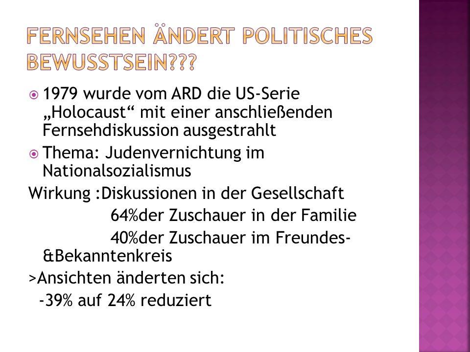 1979 wurde vom ARD die US-Serie Holocaust mit einer anschließenden Fernsehdiskussion ausgestrahlt Thema: Judenvernichtung im Nationalsozialismus Wirku