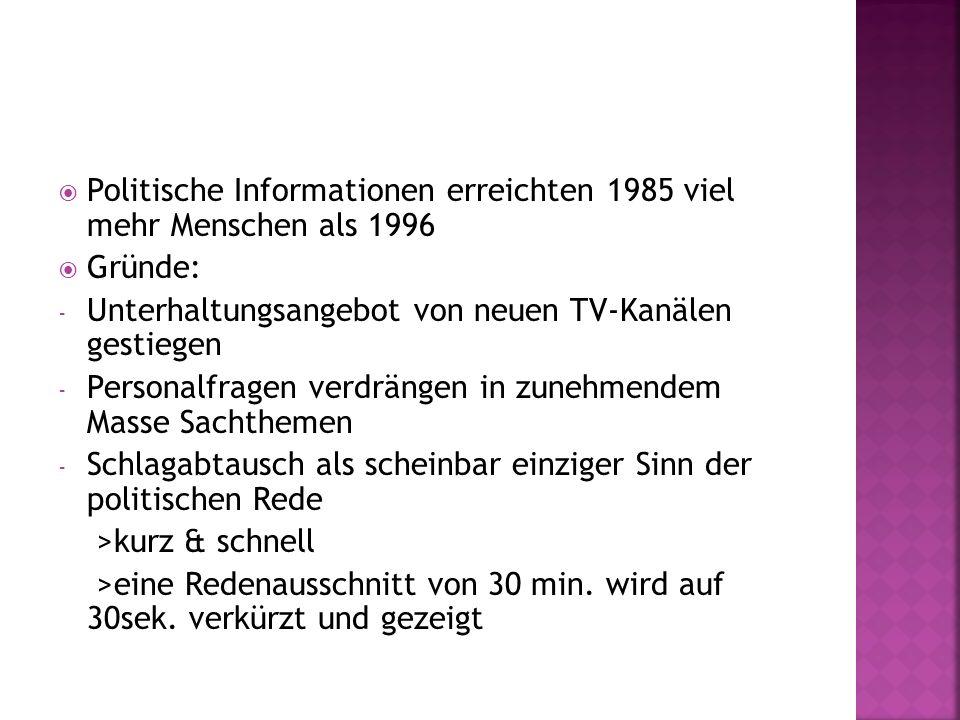 Politische Informationen erreichten 1985 viel mehr Menschen als 1996 Gründe: - Unterhaltungsangebot von neuen TV-Kanälen gestiegen - Personalfragen ve