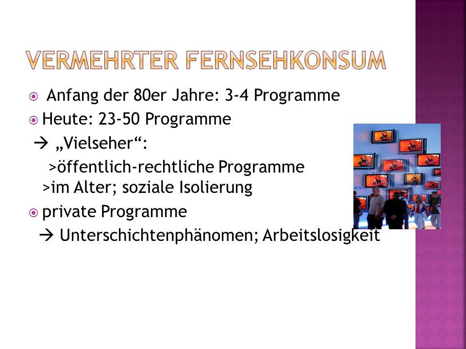 Anfang der 80er Jahre: 3-4 Programme Heute: 23-50 Programme Vielseher: >öffentlich-rechtliche Programme >im Alter; soziale Isolierung private Programm