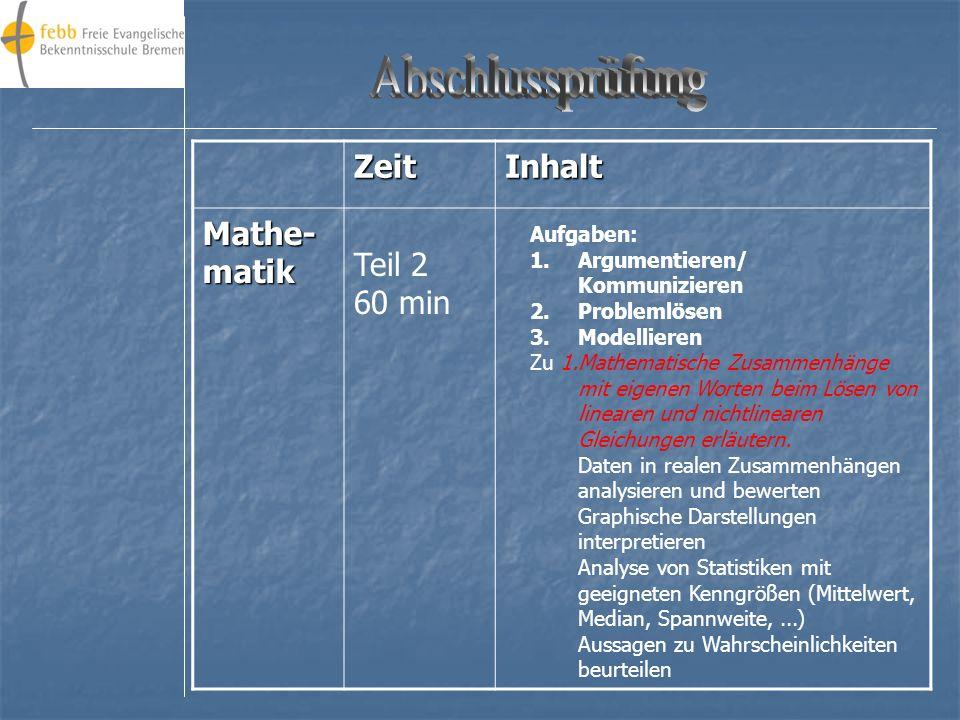 ZeitInhalt Mathe- matik Aufgaben: 1.Argumentieren/ Kommunizieren 2.Problemlösen 3.Modellieren Zu 1.Mathematische Zusammenhänge mit eigenen Worten beim Lösen von linearen und nichtlinearen Gleichungen erläutern.
