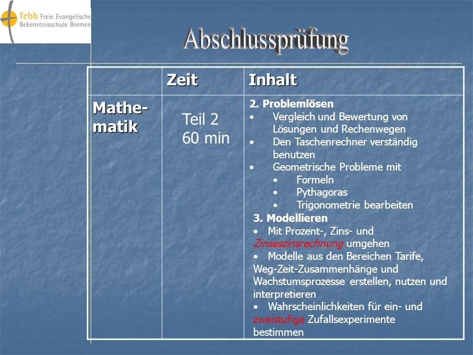 ZeitInhalt Mathe- matik Aufgaben: 1.Argumentieren/ Kommunizieren 2.Problemlösen 3.Modellieren Zu 1.Mathematische Zusammenhänge mit eigenen Worten beim