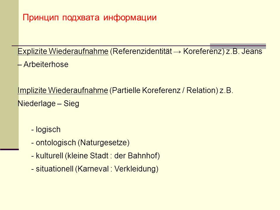 Принцип подхвата информации Explizite Wiederaufnahme (Referenzidentität Koreferenz) z.B.
