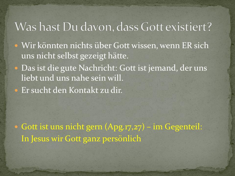 Wir könnten nichts über Gott wissen, wenn ER sich uns nicht selbst gezeigt hätte.