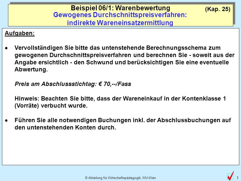 © Abteilung für Wirtschaftspädagogik, WU-Wien 2 Gewogenes Durchschnittspreisverfahren: Berechnung - Preis am Abschlussstichtag: 70,-- pro Fass Beispiel 06/1: Warenbewertung Wert 1.