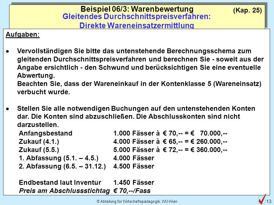 © Abteilung für Wirtschaftspädagogik, WU-Wien 13 (Kap. 25) Gleitendes Durchschnittspreisverfahren: Direkte Wareneinsatzermittlung Beispiel 06/3: Waren