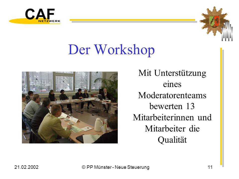 21.02.2002© PP Münster - Neue Steuerung11 Der Workshop Mit Unterstützung eines Moderatorenteams bewerten 13 Mitarbeiterinnen und Mitarbeiter die Qualität