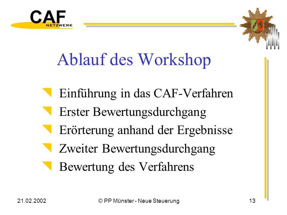 21.02.2002© PP Münster - Neue Steuerung13 Ablauf des Workshop Einführung in das CAF-Verfahren Erster Bewertungsdurchgang Erörterung anhand der Ergebnisse Zweiter Bewertungsdurchgang Bewertung des Verfahrens