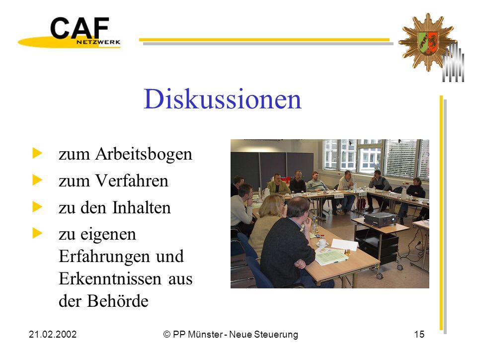 21.02.2002© PP Münster - Neue Steuerung15 Diskussionen zum Arbeitsbogen zum Verfahren zu den Inhalten zu eigenen Erfahrungen und Erkenntnissen aus der Behörde