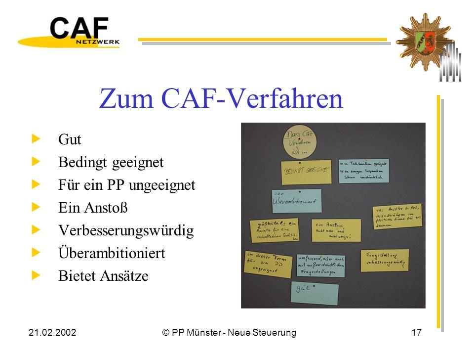 21.02.2002© PP Münster - Neue Steuerung17 Zum CAF-Verfahren Gut Bedingt geeignet Für ein PP ungeeignet Ein Anstoß Verbesserungswürdig Überambitioniert Bietet Ansätze