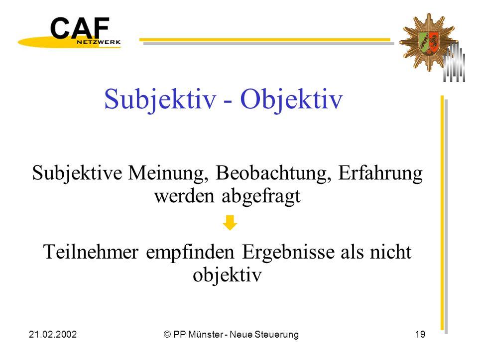 21.02.2002© PP Münster - Neue Steuerung19 Subjektiv - Objektiv Subjektive Meinung, Beobachtung, Erfahrung werden abgefragt Teilnehmer empfinden Ergebnisse als nicht objektiv