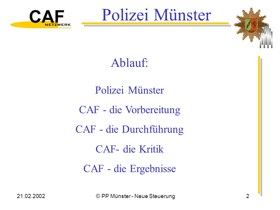21.02.2002© PP Münster - Neue Steuerung23 Ergebnis So...oder so.