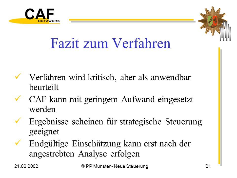 21.02.2002© PP Münster - Neue Steuerung21 Fazit zum Verfahren Verfahren wird kritisch, aber als anwendbar beurteilt CAF kann mit geringem Aufwand eingesetzt werden Ergebnisse scheinen für strategische Steuerung geeignet Endgültige Einschätzung kann erst nach der angestrebten Analyse erfolgen