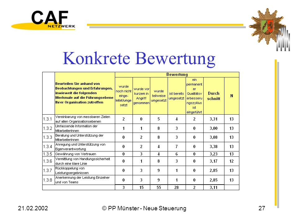 21.02.2002© PP Münster - Neue Steuerung27 Konkrete Bewertung