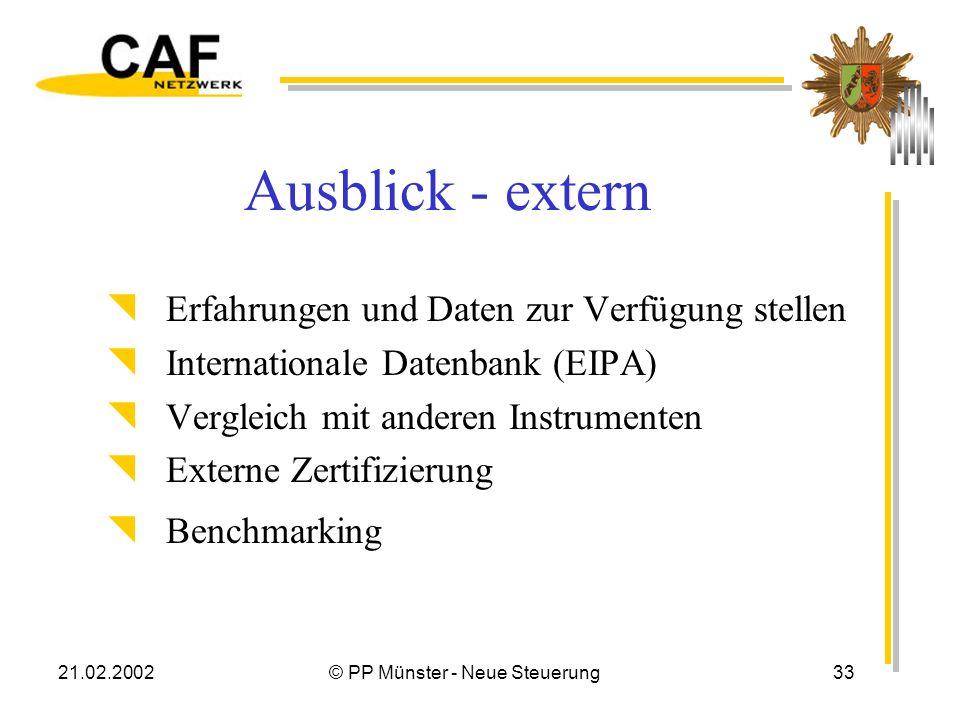21.02.2002© PP Münster - Neue Steuerung33 Ausblick - extern Erfahrungen und Daten zur Verfügung stellen Internationale Datenbank (EIPA) Vergleich mit anderen Instrumenten Externe Zertifizierung Benchmarking