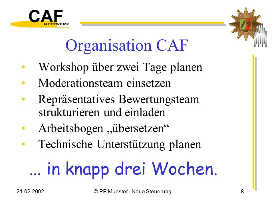 21.02.2002© PP Münster - Neue Steuerung8 Organisation CAF Workshop über zwei Tage planen Moderationsteam einsetzen Repräsentatives Bewertungsteam strukturieren und einladen Arbeitsbogen übersetzen Technische Unterstützung planen...